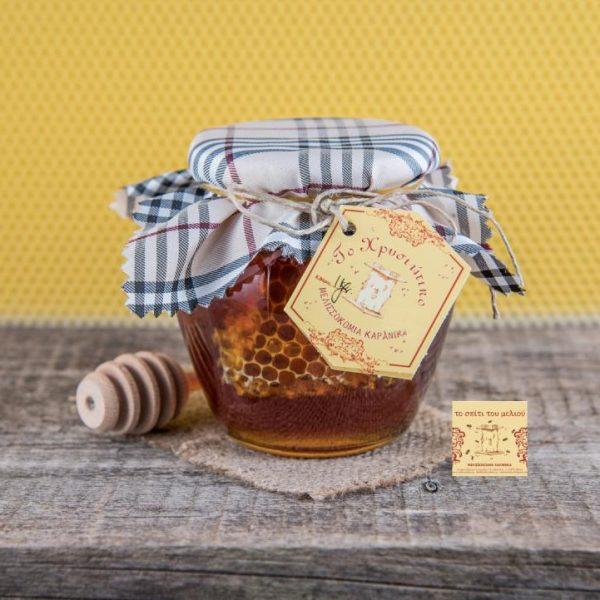 800 γρ. Μέλι Ελάτων με κηρήθρα παραδοσιακή κυψέλη (1)